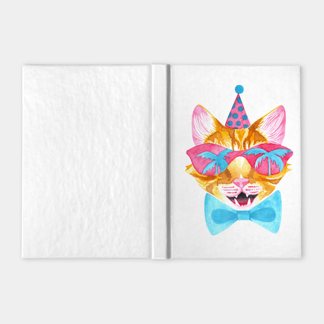 Miami Cat in Sunglasses with Palm Tree Reflections, Bowtie and a Party Hat