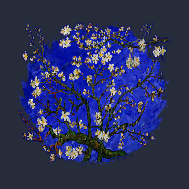 Van gogh abstract Daisy with Blue Background
