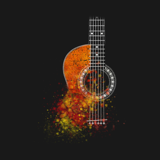Grunge Watercolor Splatter Guitar