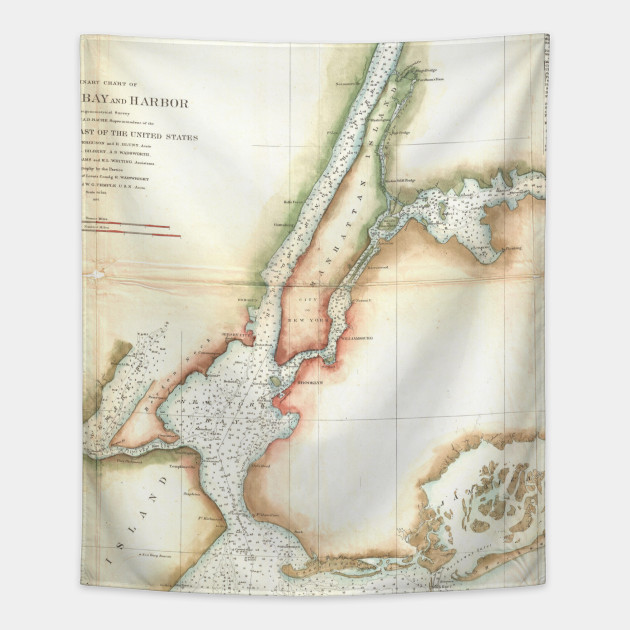 Map Of New York Harbour.Vintage Map Of New York City And Ny Harbour 1857