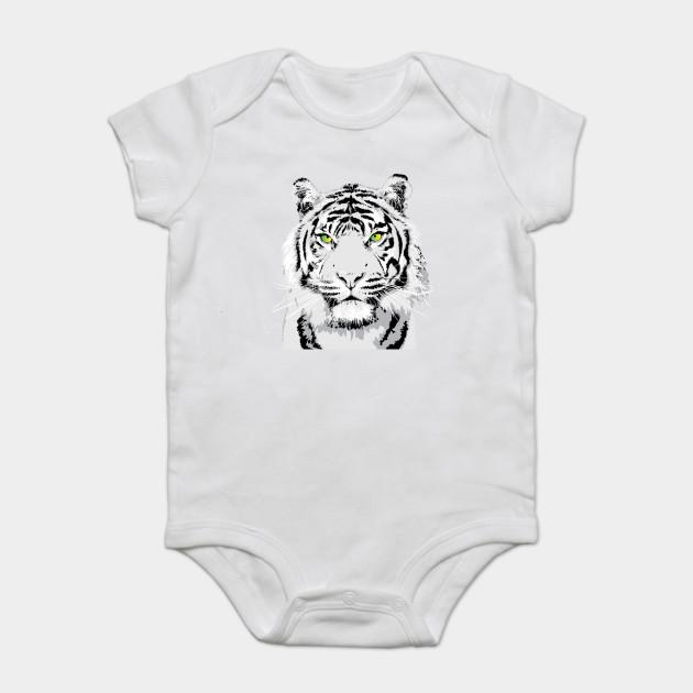 ece37d659b7f Dramatic White Tiger Vector Art Design - Animals - Onesie