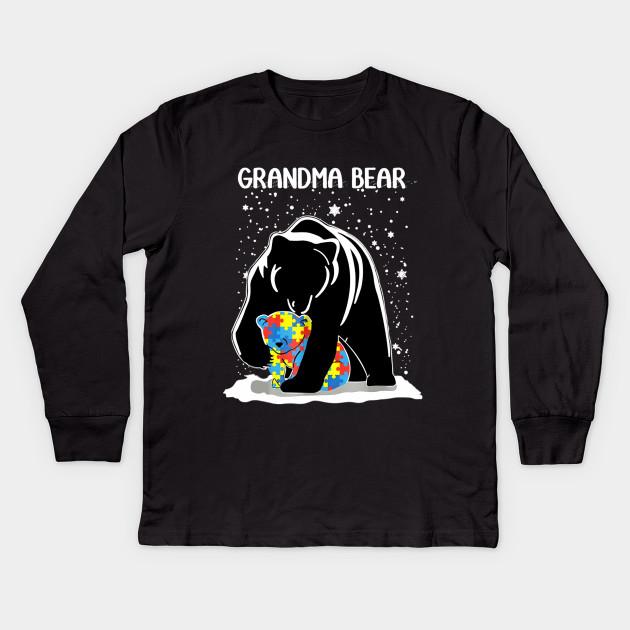 dc0bcecdeb29 Grandma Bear and autism baby bear Shirt gift Kids Long Sleeve T-Shirt