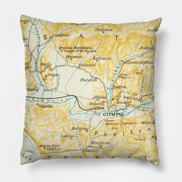 Vintage Map Of Olympia Greece 1894 Olympia Map Pillow Teepublic
