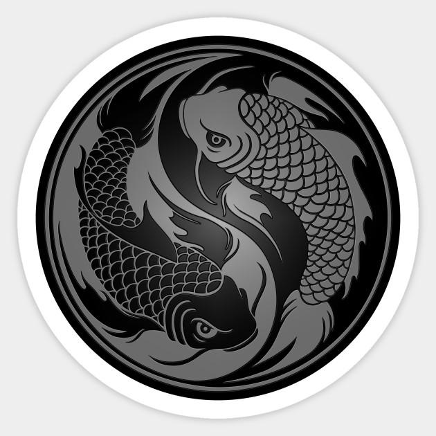 Gray and black yin yang koi fish yin yang sticker teepublic 760460 1 publicscrutiny Image collections