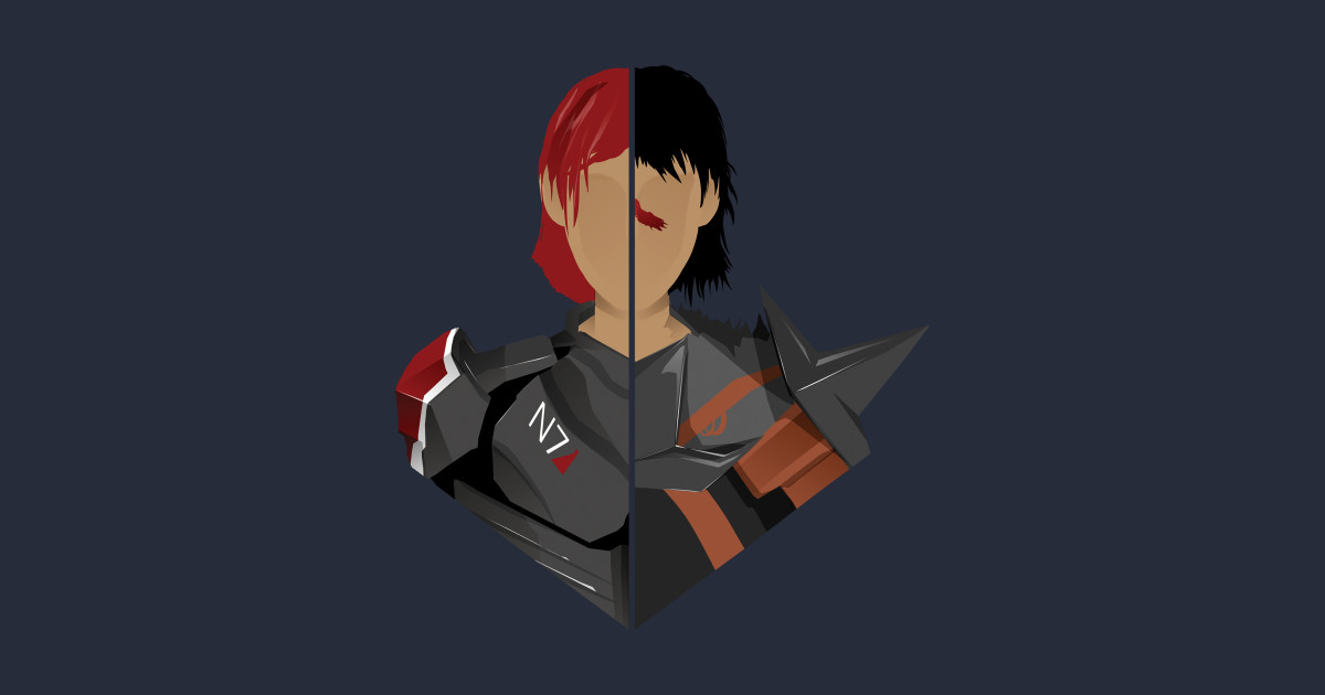 The shepard and the hawke mass effect t shirt teepublic for Mass t shirt production