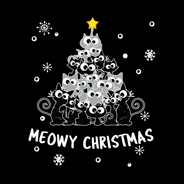 Merry Catmas Meowy Cats Christmas Tree Cat Kitten Lover Gift T-Shirt