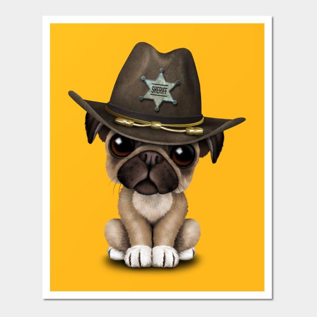 Cute Pug Puppy Dog Sheriff