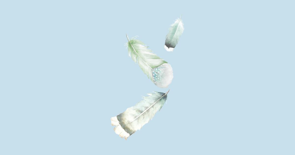 green falling feathers watercolor feather sticker teepublic