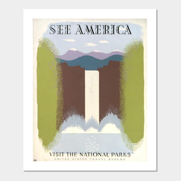 See America Visit National Parks WPA Art Vintage Poster