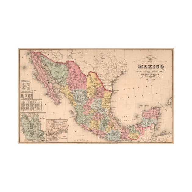 vintage map of mexico 1859 mexico map t shirt teepublic