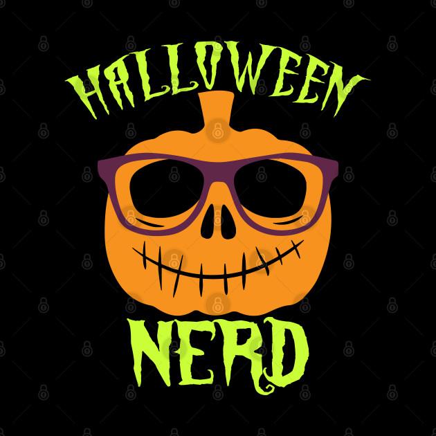 Funny pumpkin Halloween Nerd