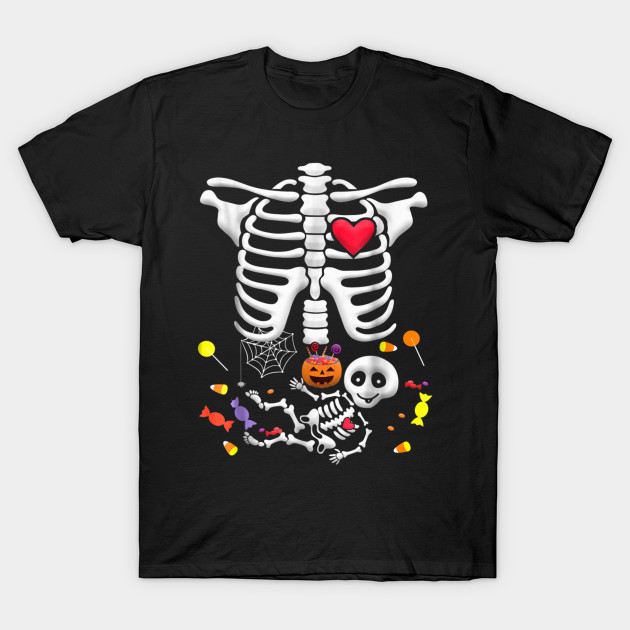 Halloween Baby Skeleton Black Maternity Soft T-Shirt
