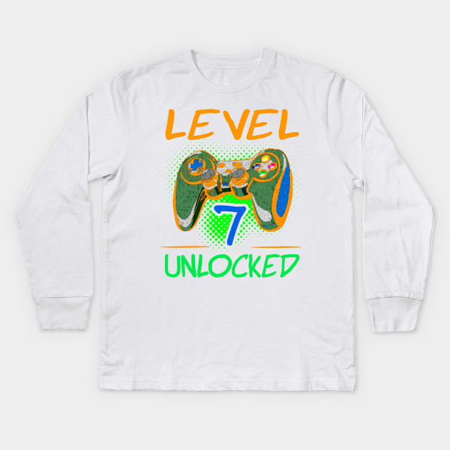 Seventh Birthday Party Games Gamers Gift T Shirt Kids Long Sleeve