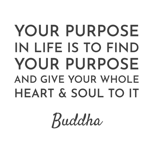 Your purpose in life is to find your purpose and give your whole heart and soul to it  - Buddhist Quote