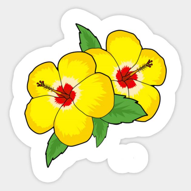 Yellow Hibiscus Flower Pocket Patch Flower Sticker Teepublic