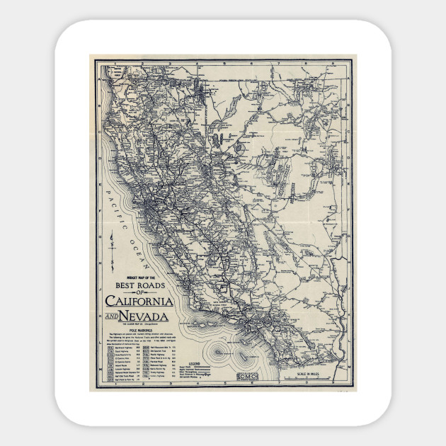 Vintage California and Nevada Road Map (1920)