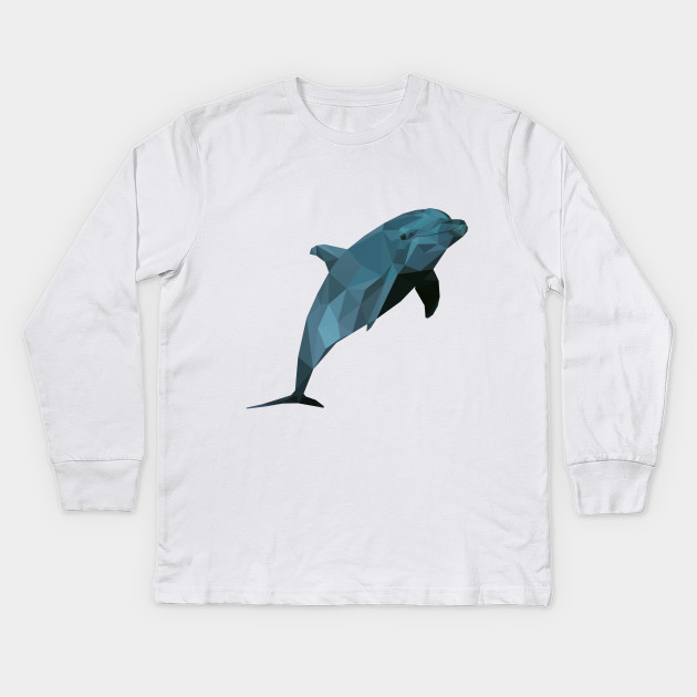Low poly dolphin dolphin kids long sleeve t shirt teepublic 949399 1 voltagebd Images