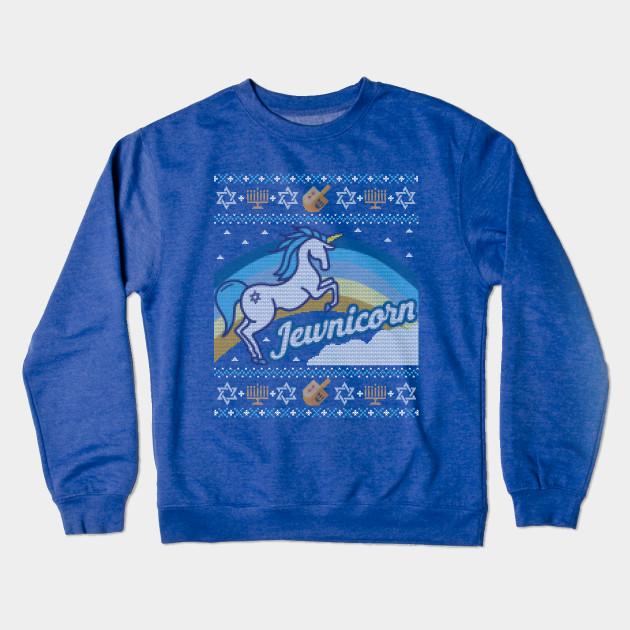 Jewish Christmas Sweater.Funny Ugly Hanukkah Sweater Unicorn Jewnicorn