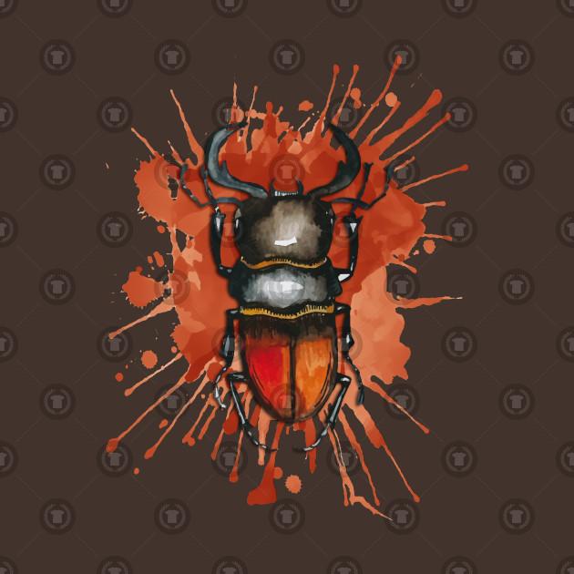 Beautiful Watercolor crawling BUG Red Brown