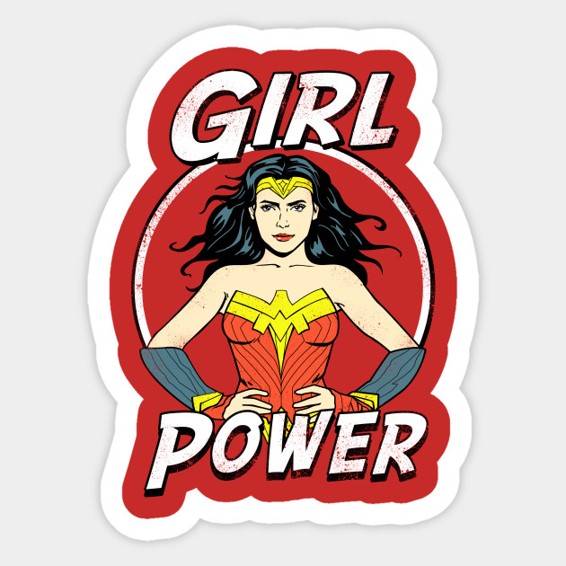 Girl Power - Wonder Woman - Sticker  Teepublic-5053