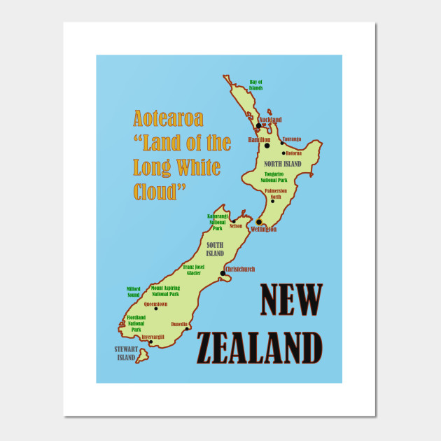 New Zealand Map Print.New Zealand Map