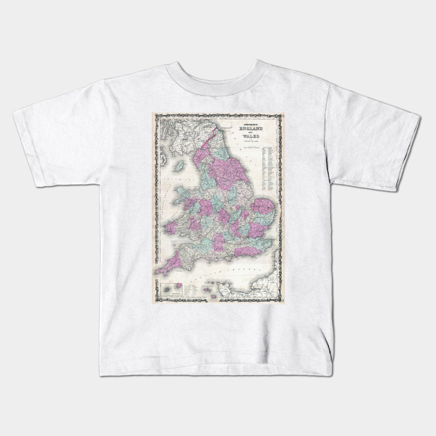 Map Of England For Kids.Vintage Map Of England 1862 England Map Kids T Shirt Teepublic