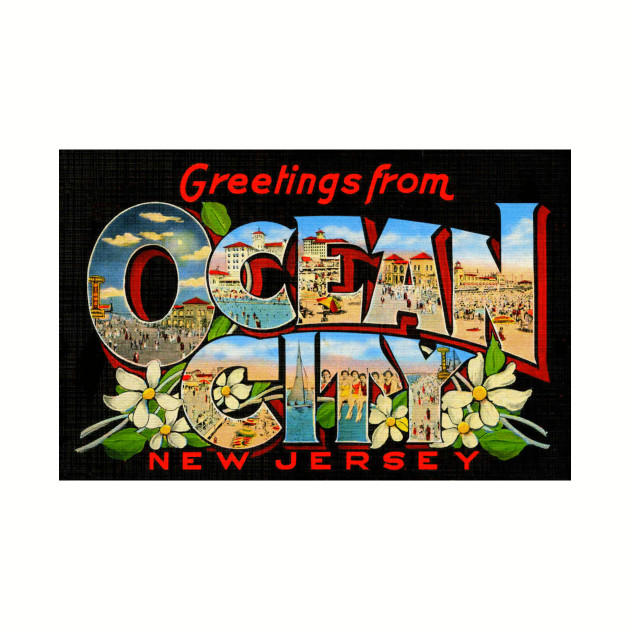 Greetings from Ocean City, New Jersey - Vintage Large Letter Postcard