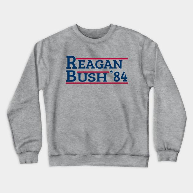 New Ronald Reagan George Bush 84 Campaign Crewneck Sweatshirt