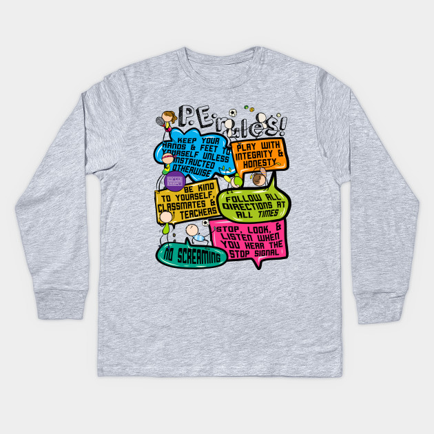 9985beb6 Funny Colorful Doodle Physical Education P.E. Rules Kids Long Sleeve T-Shirt