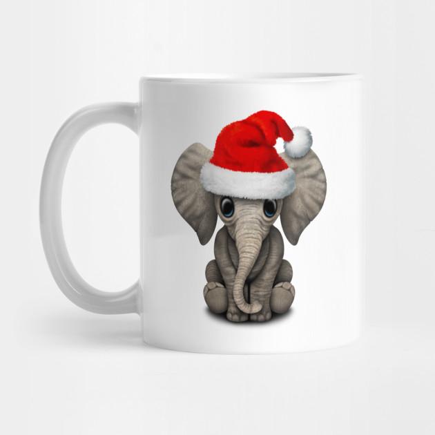 Baby Elephant Wearing a Santa Hat - Christmas - Mug  1899017d5dd