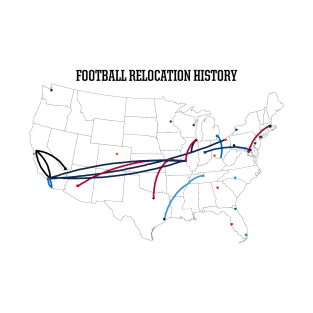 NFL Relocation Map t-shirts
