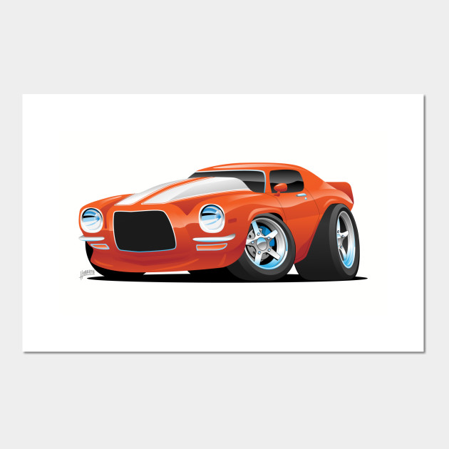 Classic Seventies Muscle Car Cartoon Muscle Car Posters And Art