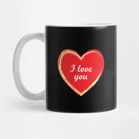 I Love You Textured Heart Outline Design Mug