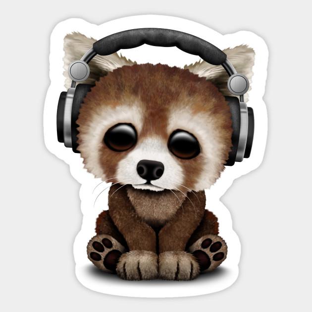 Cute Baby Red Panda Deejay Wearing Headphones Red Panda Sticker Teepublic
