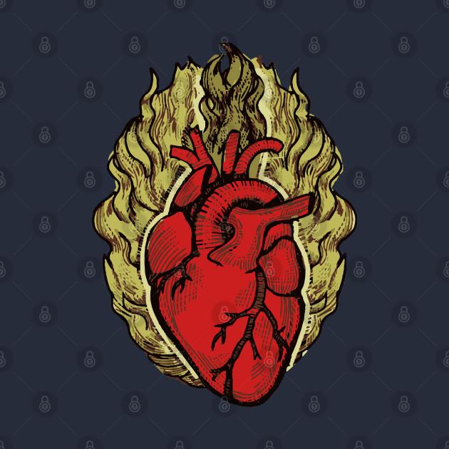 Heart anatomical heart burning heart t-shirt