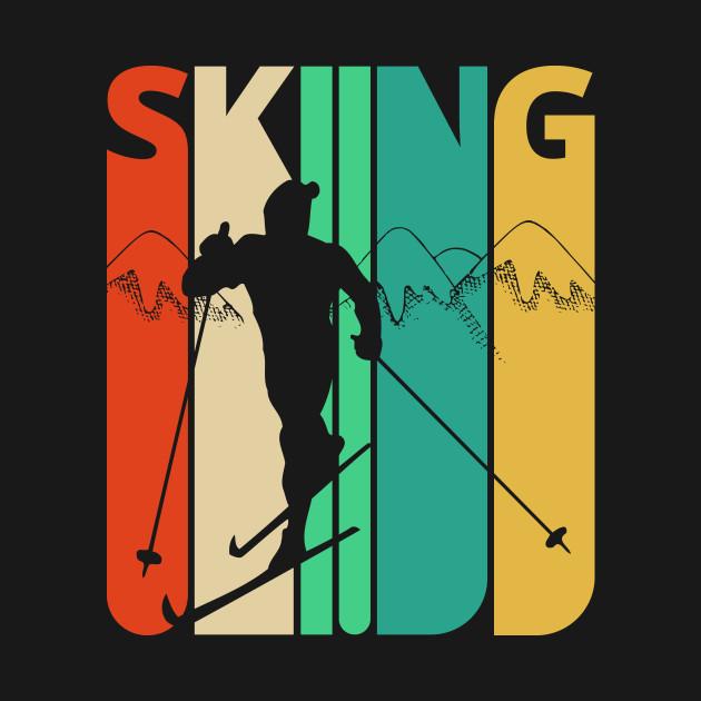 Skiing Silhouette, retro design.