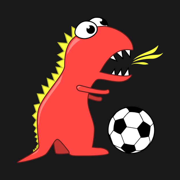 Cartoon Dinosaur Playing Soccer