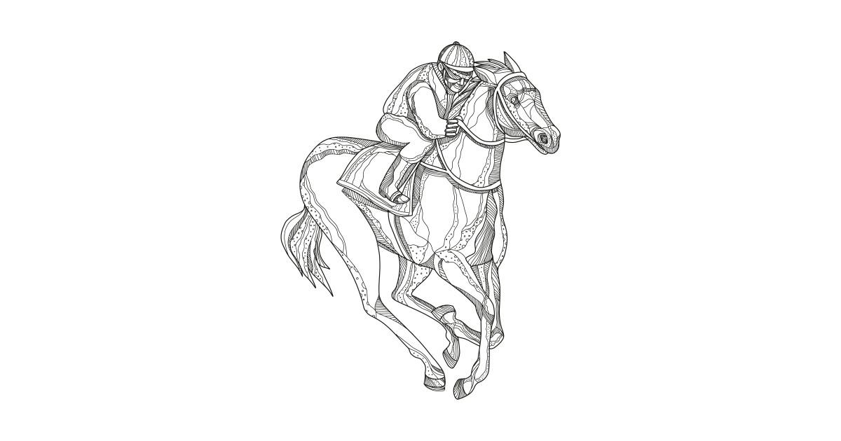 Horse Racing Jockey Doodle Art
