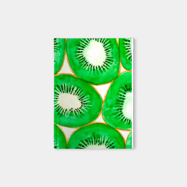 Watercolor kiwi slices pattern