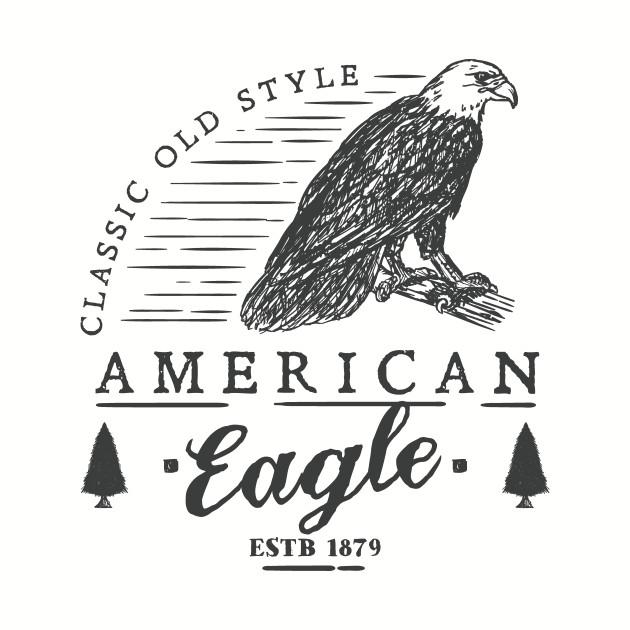 Retro Animal American Eagle Black