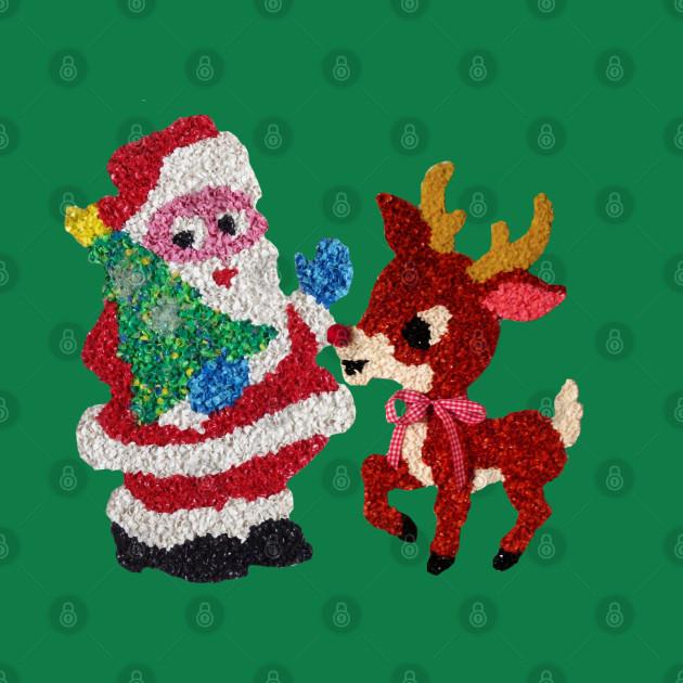 Santa & Rudolph Vintage Melted Plastic