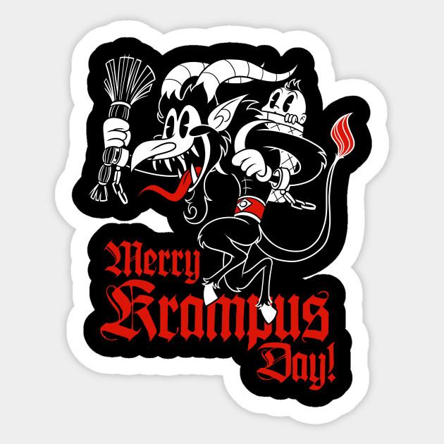 Happy Krampusnacht Krampus Old 30s Cartoon style - Krampus - Sticker    TeePublic AU