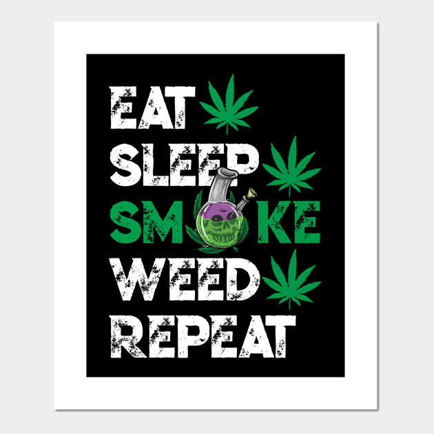 Eat Sleep Smoke Weed Decal Choose Color V and T Gifts
