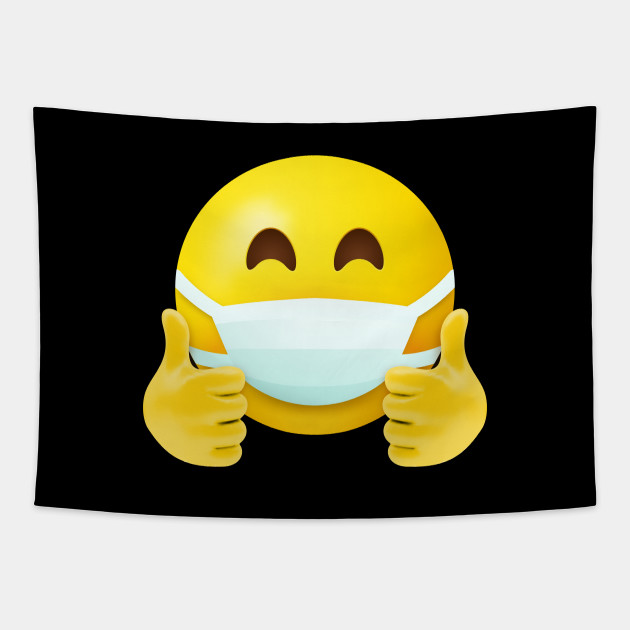 Mask face thumbs up - Mask Face - Tapestry | TeePublic