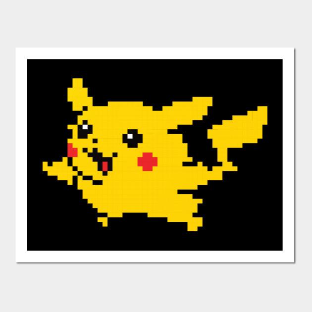 8 Bit Pikachu - Pikachu - Wall Art   TeePublic