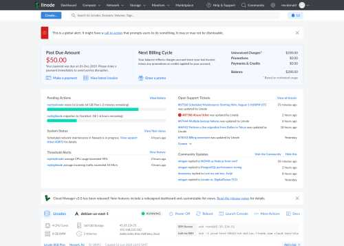 A thumbnail of the new Cloud Manager dashboard for a single Linode