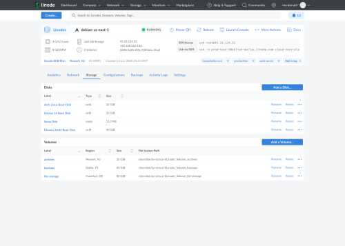A thumbnail of the new Cloud Manager detail view storage tab
