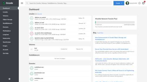 A thumbnail of the original Linode Cloud Manager dashboard.