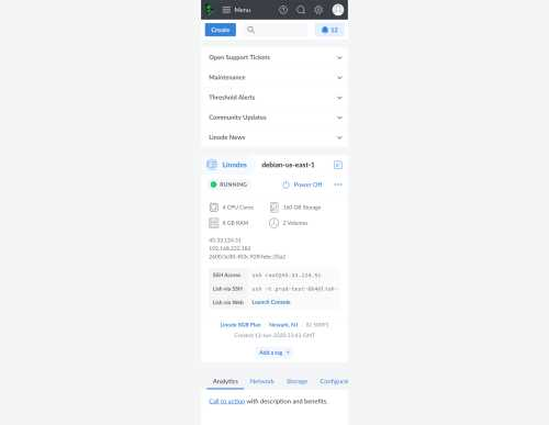 Cloud Manager dashboard mobile layout