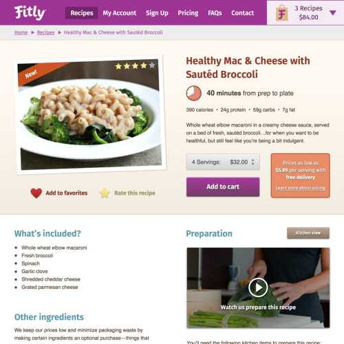 Fitly recipe detail page (desktop)
